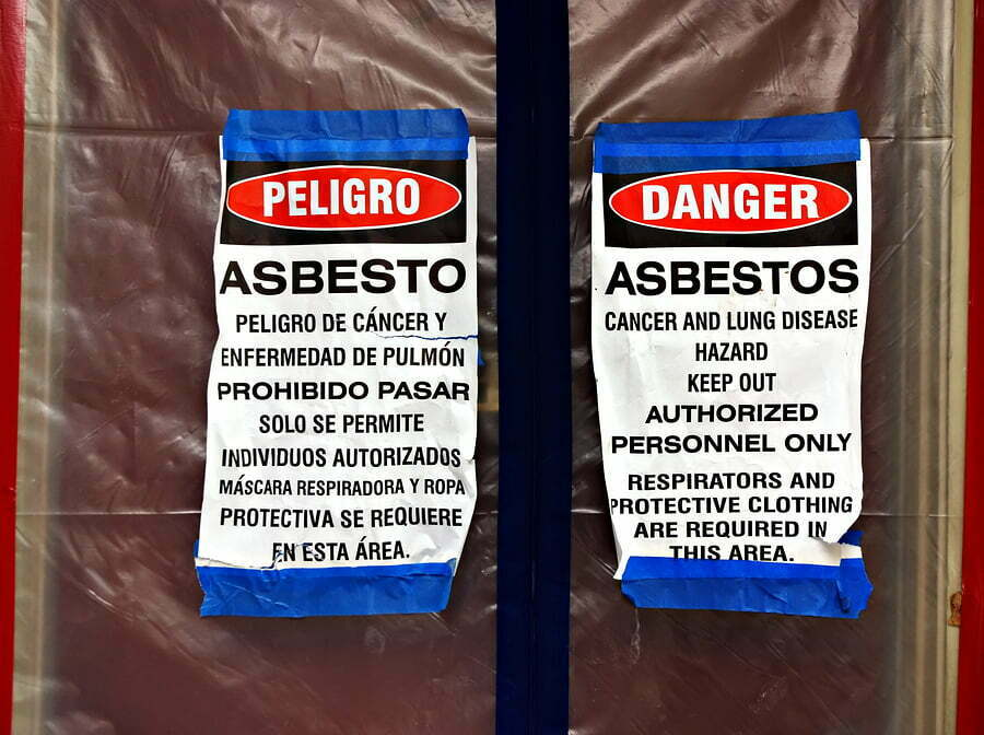 bilingual asbestos warning signs