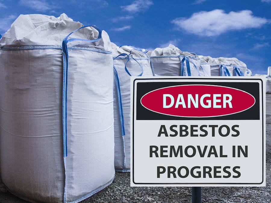 sign asbestos removal in progress